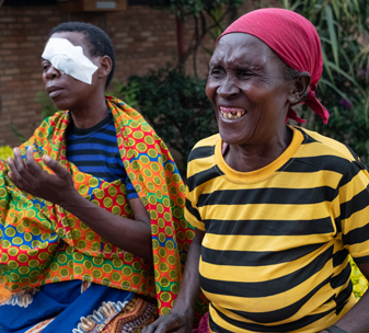 Marie (pictured left) with her friend Philomena (pictured right) at Kabgayi Eye Unit in Rwanda.
