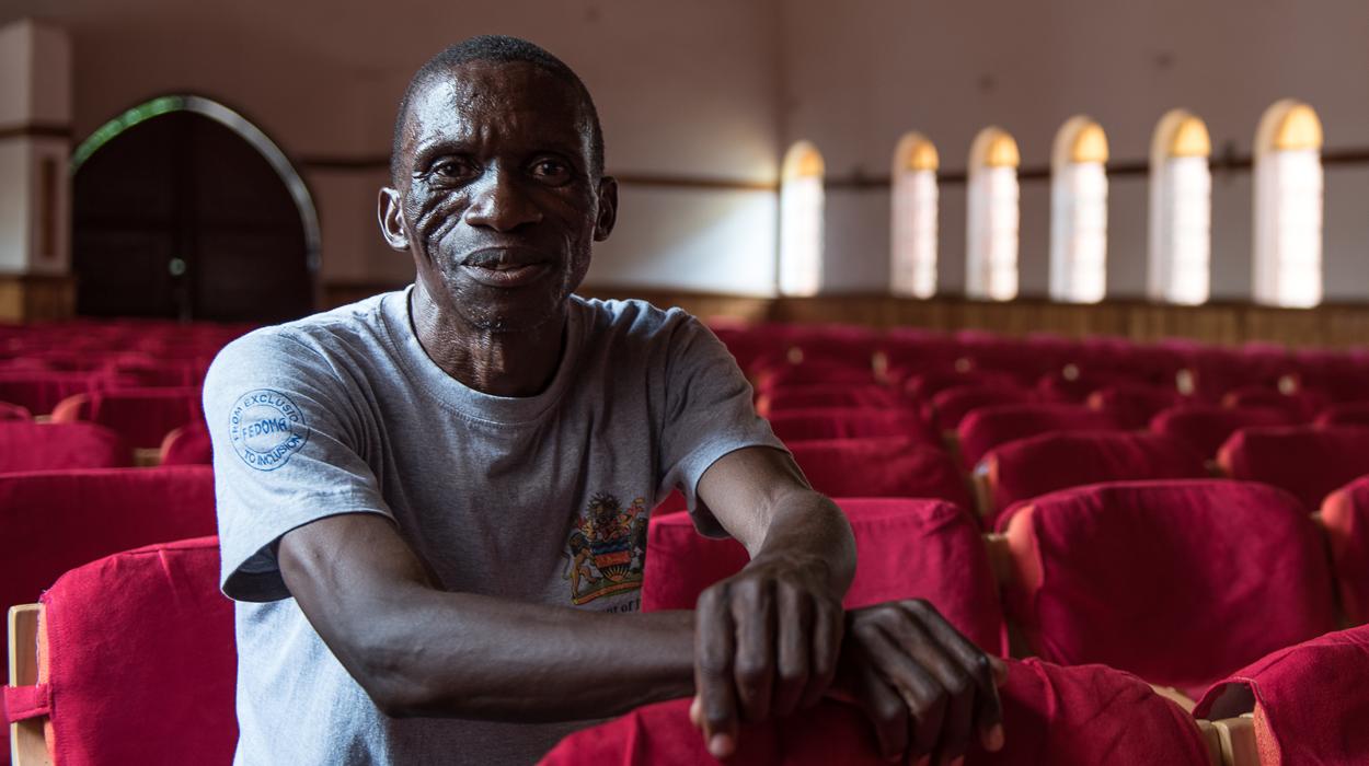 Mr Thom at his church in Blantyre, Malawi.© CBM/Eshuchi