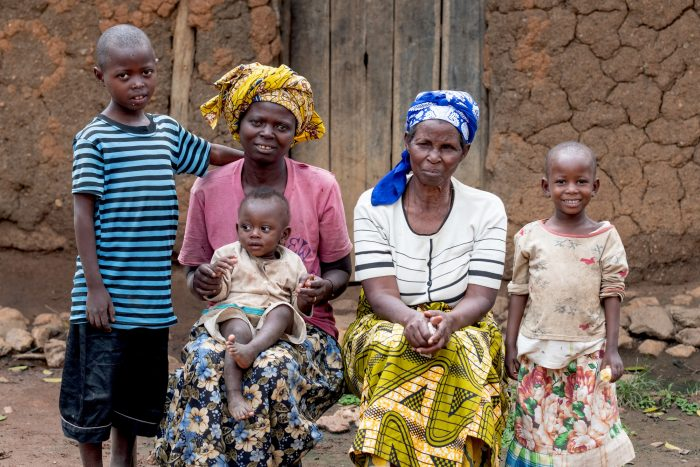 Southern Province, Rwanda - 2019-05-03 -  Salomé with her family, daughter Salome and the grandchildren, Jean Baptiste, Cecile, and Etienne, at home in Southern Province, Rwanda on May 3.
