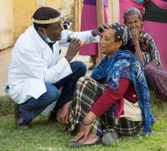 patients being examined and treated for trachoma at CBM's outreach clinic in Ethiopia. ©CBM/Diemer
