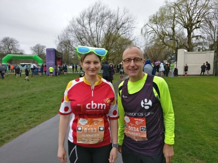 Jenni and Rob at Cambridge Half Marathon