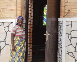 Salome stood outside a church
