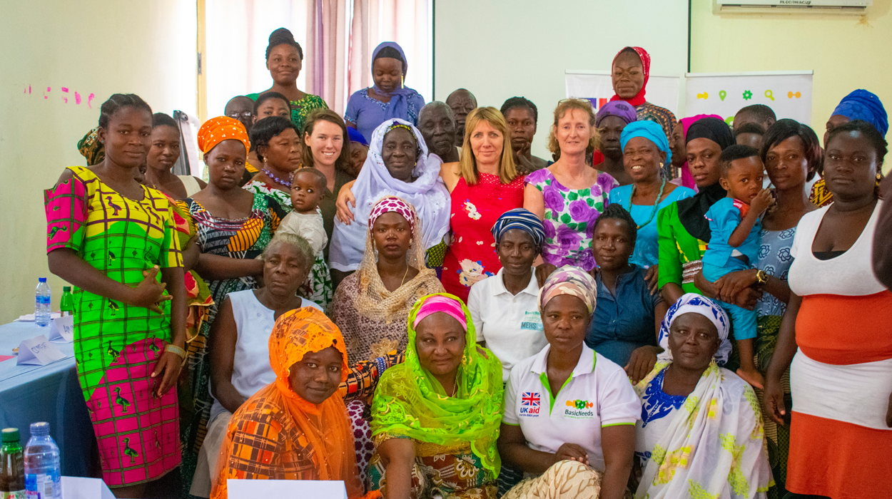 Sue Strand, Emma Layton and Rachel Dutton with the peer support group leaders who took part in the training in Ghana