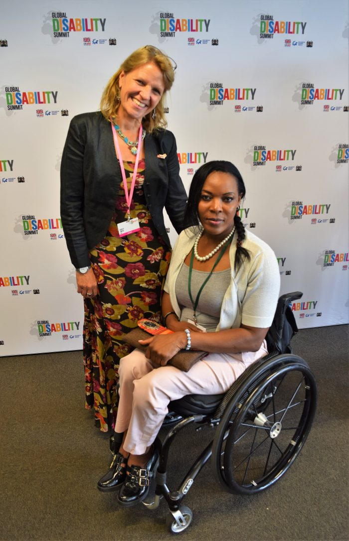 Kirsty with CBM Champion and GB Paralympian, Anne Wafula-Strike, at the Global Disability Summit in July 2018
