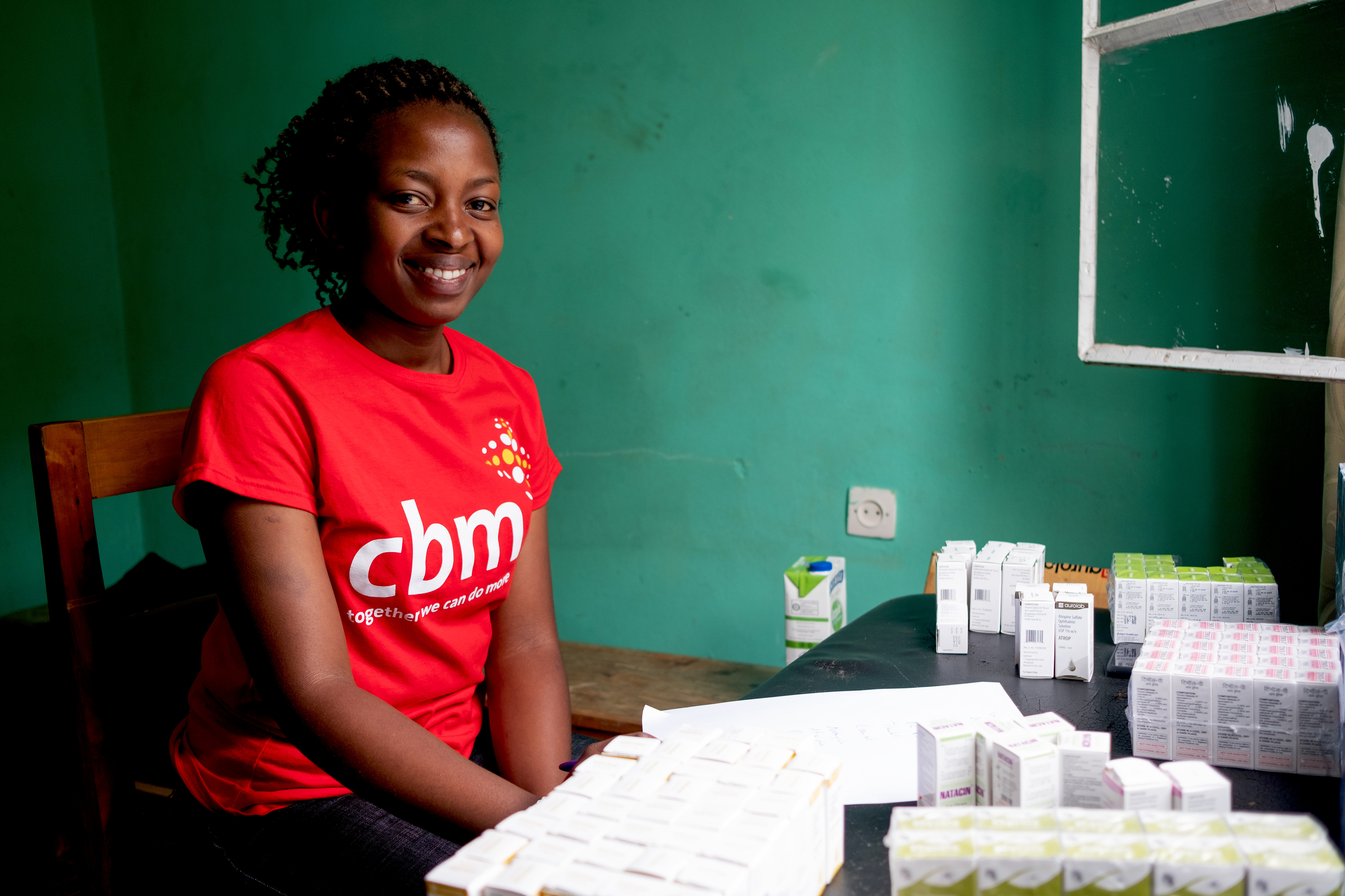 Ophthalmic clinical officer Sarah at Kigeme District Hospital in Rwanda.