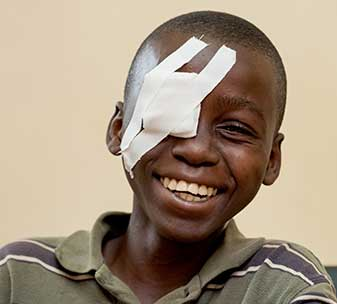 Heri (14), from Tanzania, can see and get around independently again after sight-restoring cataract surgery ©CBM/Hayduk