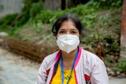 Nila Project Coordinator for CBM supported programme in Nepal wearing a face mask to protect against Covid-19.