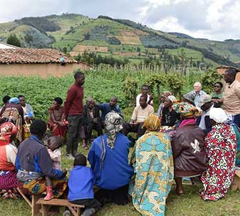 Village Savings and Loans Association group meeting in Rwanda.