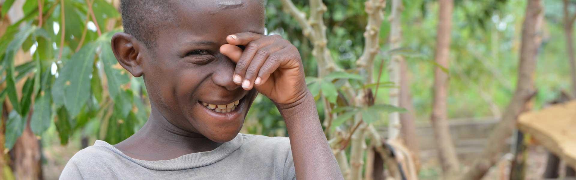 10-year-old Mathias from Uganda has cataracts in both eyes.