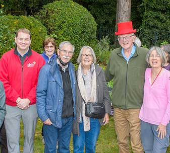 Gill and Peter Godber with their guests at their World Sight Day garden party
